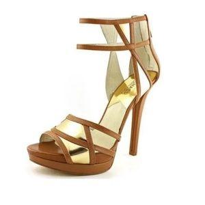 Michael Kors JAIDA Back Zip Platform Gold Heels